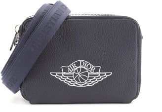 Christian Dior Air Jordan Double Zip Crossbody Pouch Printed Leather