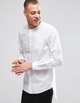 Weekday Grimm Collarless Regular Fit Shirt Long Tail in White