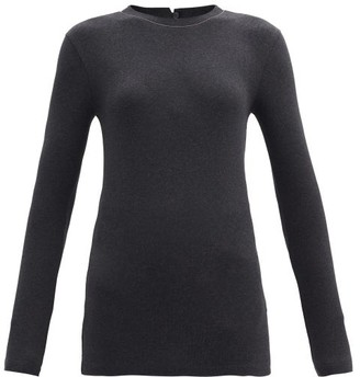 Brunello Cucinelli Ribbed Cotton-blend Jersey Long-sleeved T-shirt - Dark Grey