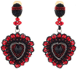 Oscar de la Renta Embellished Runway Heart Clip Earrings