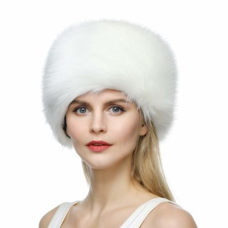 Dikoaina Faux Fur Cossack Russian Style Hat for Ladies Winter Hats for Women - beige - S