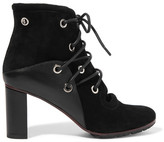Proenza Schouler Eyelet-embellished Suede And Leather Ankle Boots - Black
