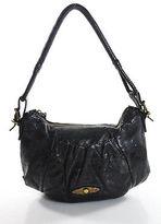 Elliott Lucca Blue Leather Small Round Hobo Shoulder Handbag