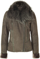 Roberto Cavalli Army Green Leather Jacket with Fur Collar