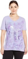 Just My Size Women's Plus-Size Printed Short Sleeve V-Neck
