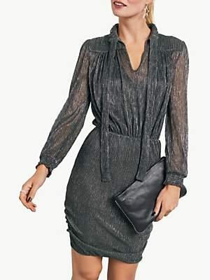 Hush Metallic Shimmer Dress, Silver/Black