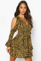boohoo Woven Leopard Cold Shoulder Frill Skater Dress