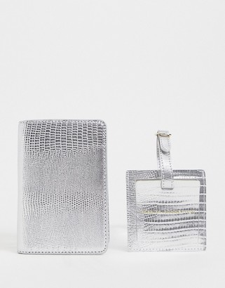 French Connection snake passport holder and luggage tag set in silver
