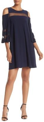 Nina Leonard Cold Shoulder Shift Dress