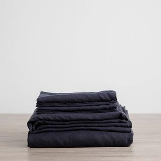 Lulu & Georgia Cultiver Linen Bedding, Navy Sheet Set
