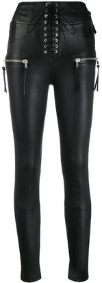 Unravel Project Lace-Up Zip Skinny Trousers