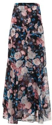 Erdem Glacinta Floral-print Silk Crepe De Chine Skirt - Black Pink