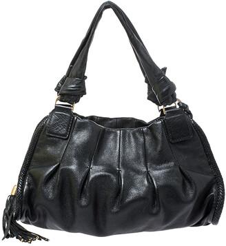 Cole Haan Black Pleated Leather Tassel Hobo