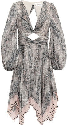 Zimmermann Corsage Twist-front Cutout Printed Organza Mini Dress