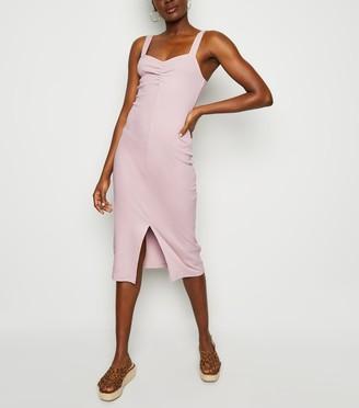 New Look Ribbed Front Split Midi Dress