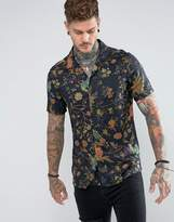 Asos Regular Fit Floral Shirt In Viscose With Revere Collar
