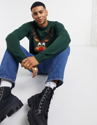 ONLY & SONS Christmas sweater with rudolph in green