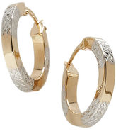 Lord & Taylor 14K Gold Two-Tone Hoop Earrings