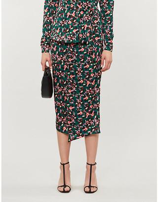 Selfridges Never Fully Dressed Jaspre high-waist graphic-print satin-crepe wrap skirt