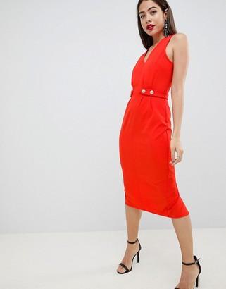 Asos Design DESIGN v neck a-line mini dress with button detail