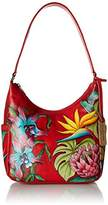 Anuschka Handpainted Leather Classic Hobo with Side Pockets,Island Escape