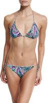 Etro Paisley Ruffle-Trim Triangle Bikini Set, Multi
