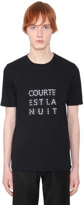 Saint Laurent Courte Est La Nuit Cotton Jersey T-Shirt