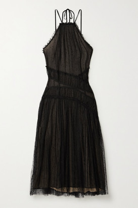 Jason Wu Collection - Starry Night Shirred Point D'esprit Tulle Midi Dress - Black
