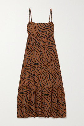 Faithfull The Brand + Net Sustain Corvina Tiger-print Crepe Midi Dress - Brown