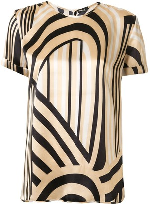 Kiton Striped Loose-Fit Silk Blouse