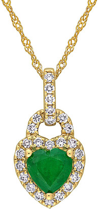 Rina Limor Fine Jewelry 14K 0.91 Ct. Tw. Diamond & Emerald Pendant Necklace
