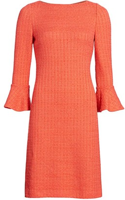 St. John Windowpane Textured Knit Bell-Sleeve Dress