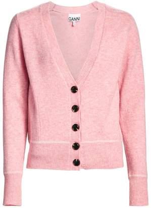 Ganni Wool-Blend Button-Down Knit