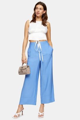 Topshop Womens Blue Stitch Wide Leg Trousers - Blue
