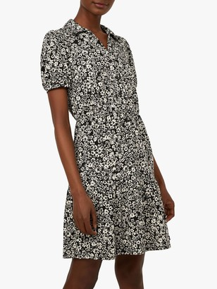 Warehouse Floral Shirt Dress, Black Pattern