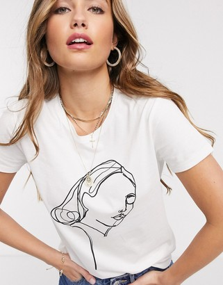 JDY printed t-shirt in white