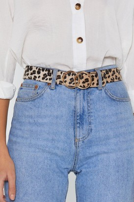 Nasty Gal Womens Double Circle Buckle Leopard Belt - Beige - One Size