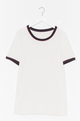 Nasty Gal Womens Ringer You Up Plus Contrast Tee - White - 18