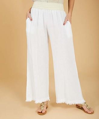 Ornella Paris Women's Casual Pants - White Side-Pocket Linen-Blend Flare Pants - Women & Plus