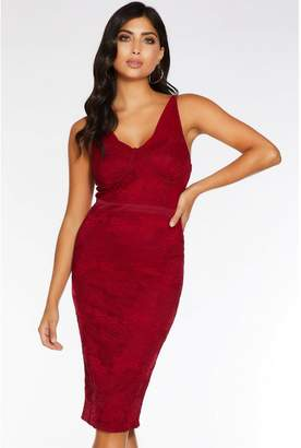 Quiz Berry Lace Ruched Midi Dress