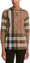 Burberry Check Grandad Collar Shirt