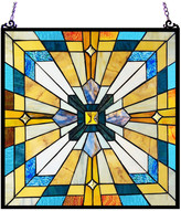 """Chloé Lighting ANTOINETTE Tiffany-Style Mission Stained Glass Window Panel, 20"""""""