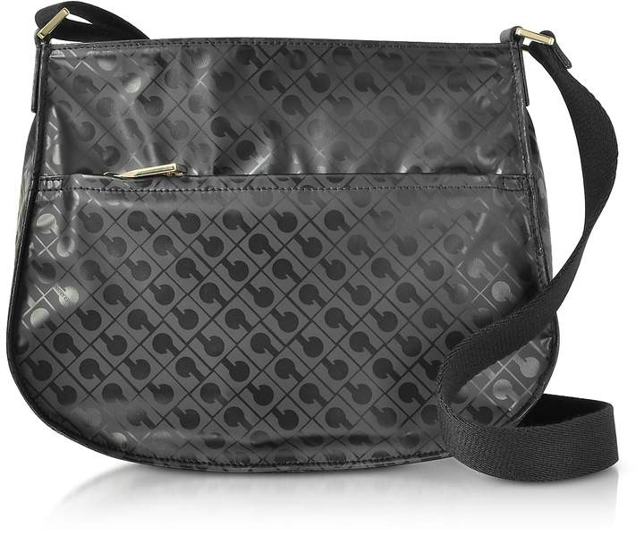 Gherardini Signature Fabric and Leather Softy Small Shoulder Bag w/Zip Front Pocket
