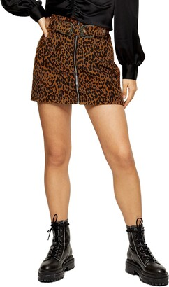 Topshop Leopard Corduroy Buckle Miniskirt