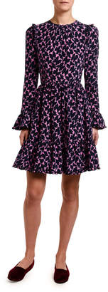 Double J Long-Sleeve Abstract Floral Crepe Dress