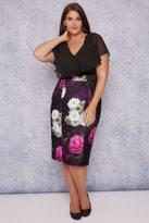 Yours Clothing SCARLETT & JO Black, Purple & Multi Floral Print Midi Dress With Angel Sleeves