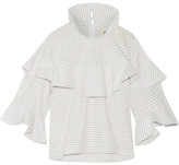 Awake Ruffled Checked Cotton-poplin Top - White