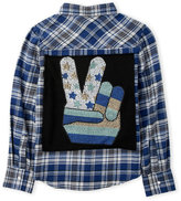 Butter Shoes Girls 7-16) Studded Peace Back Flannel Shirt