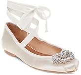 Badgley Mischka Karter Embellished Satin Ankle Wrap Ballet Flats