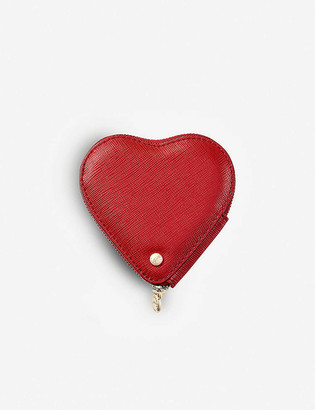 Aspinal of London Logo-embossed heart-shaped leather coin purse
